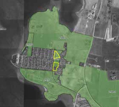 Kort over Veddelev med udpegede grunde © Roskilde Kommune 2017