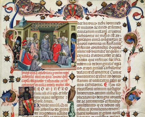 """Usatges de Barcelona var Cataloniens lovbog. Miniature fra 1336 viser et møde i """"Corts Catalanes"""". Kilde: Wikipedia"""