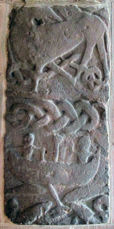 Gosforth billedfrise 900-tallet visende Thors fiskedræt. Kile: Viking Archaeology Blog