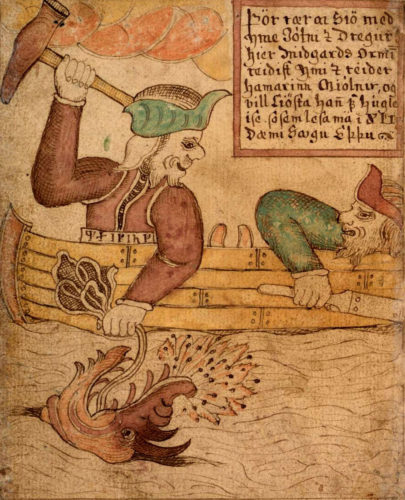 Thor og Hymer på fisketur. Fra Islandsk håndskrift fra 1700-årene med Snorres Yngre Edda. Kilde: wikipedia