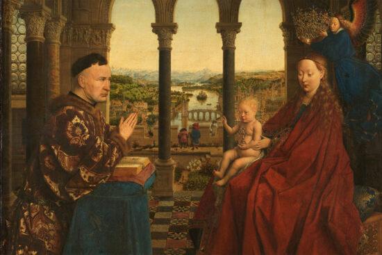 Jan van Eyck. Madonna og den bedende Rolin, Burgund, c. 1435. Louvre. Kilde: Wikipedia