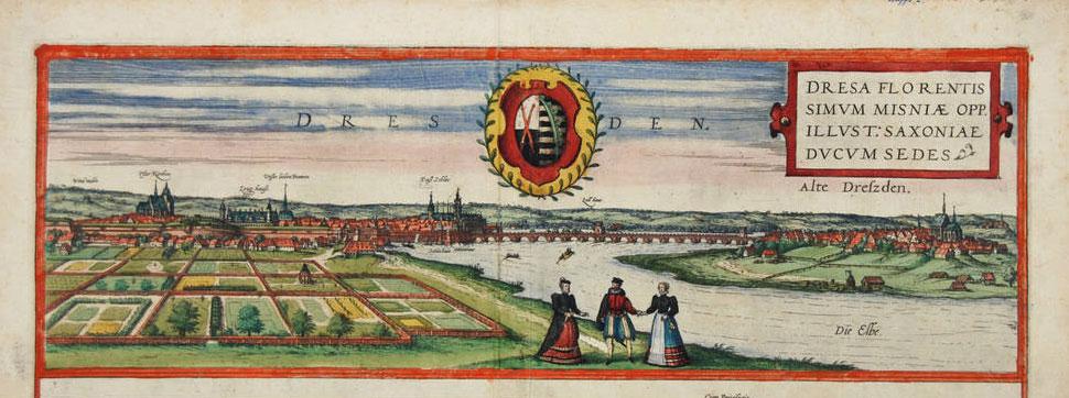 Haver foran Dresden. Fra: Civitates orbis terrarum. Kilde: Wikipedia