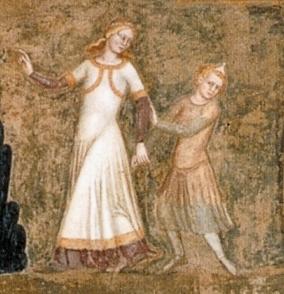 Udsnit: Kirkens triumf. Af Andrea di Bomaiuto. 1366-67. Santa Maria Novella. Kilde: Wikipedia