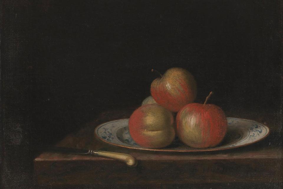 Nature Morte med æbler på Ostindisk tallerken. Af Jakob Hörner, 1726-63. @ Statens Museum for Kunst. Public Domain