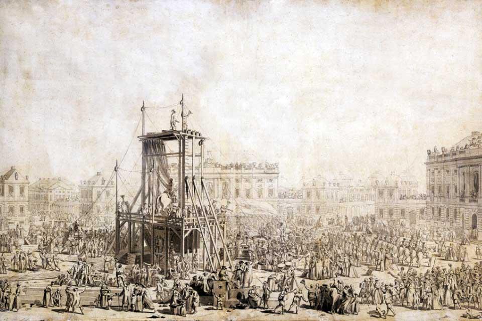 Tegning af opstillingen af Saly's rytterstatue på Kongens Nytorv © Kongelige Bibliotek