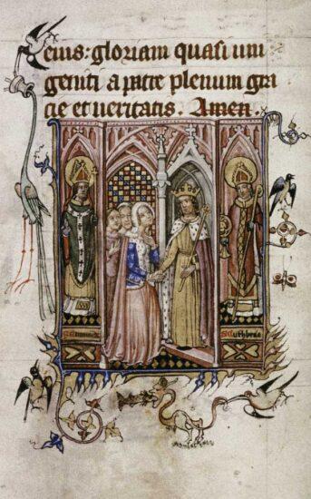 Anne af Böhmen. Fra hendes bønnebog. Bodleian Library MS Lat. Liturgy. F. 3, fol 065r. Kilde: Wikipedia