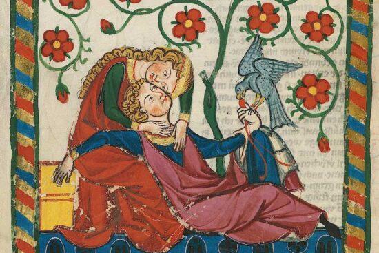 Kærlighedsscene fra Codex Manesse c. 1340. Kilde: Wikipedia.