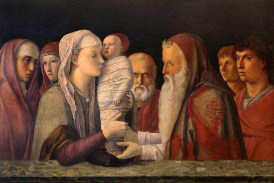 The presentation of Jesus. By Giovanni Bellini. Ca 1469. Kilde: Wikipedia