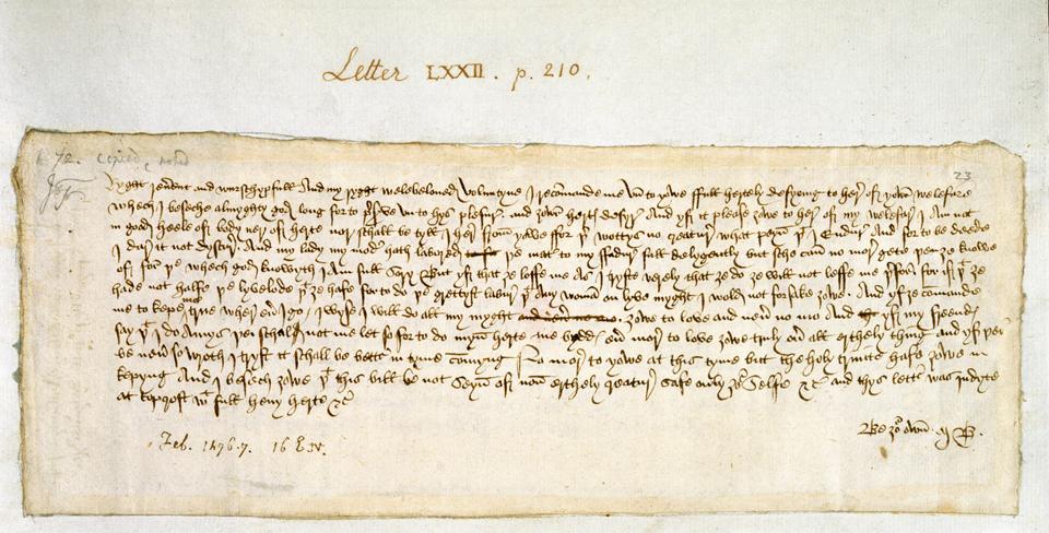 Valentine-brev til John Paston fra Margery Brews. British Library Add. 43490, f.23