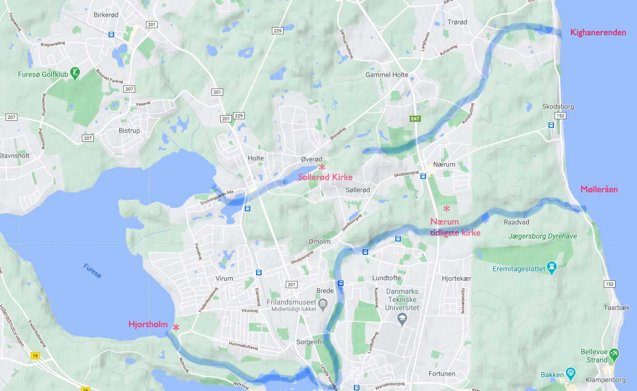 Kort over placeringen af lokaliteter omtalt i teksten © KS