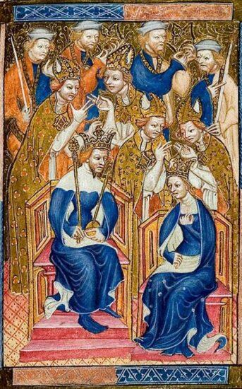 Anne af Böhmen. Kroning af Richard II og Anne af Böhmen. Fra Liber regalis. Westminster Abbey. Kilde: Wikipedia