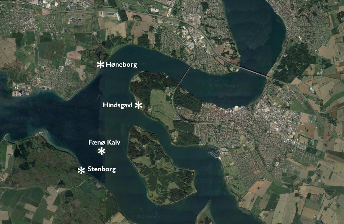 Kort over Stenborg, Høneborg og Hindsgavl