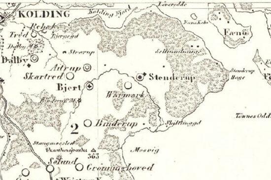 Udsnit af videnskabernes selskabs kort ca. 1787