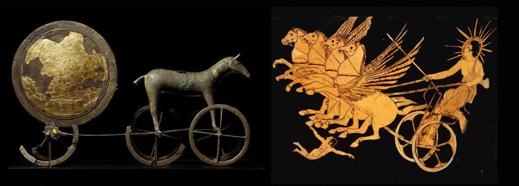 Solvognen fra dansk bronzealder ca. 1400 f. kr. Og den græske solgud Helios på en vase fra ca. 400 f. Kr. Samme motiv, men forskellige udgaver og sikkert mytologier
